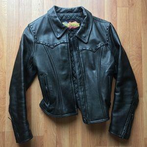 Easyriders Black Leather Zipper Jacket EUC